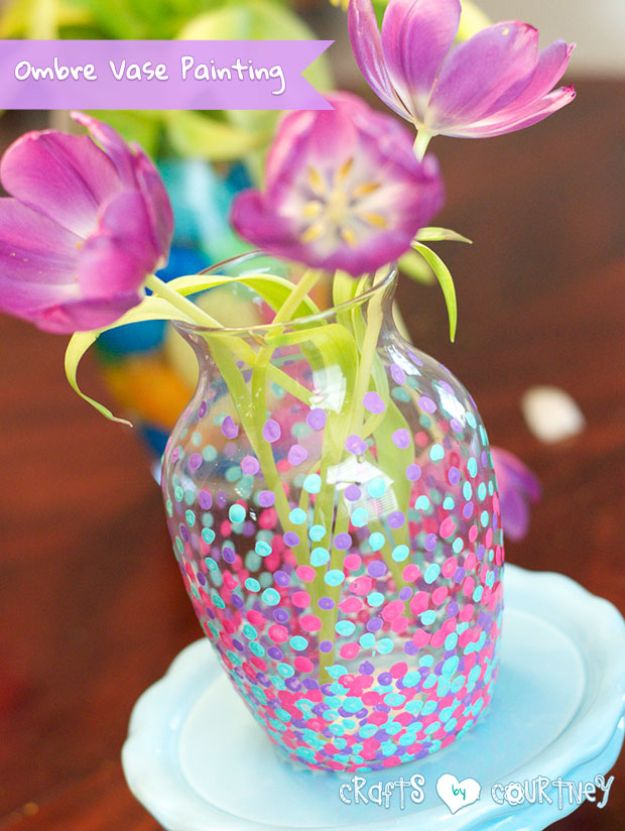 Best Mothers Day Ideas - Ombre Vase Painting - Easy and Cute DIY Projects to Make for Mom - Cool Gifts and Homemade Cards, Gift in A Jar Ideas - Cheap Things You Can Make for Your Mother http://diyjoy.com/diy-mothers-day-ideas