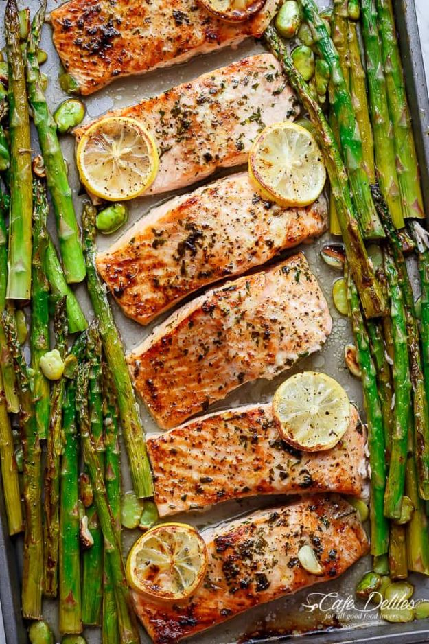 Best Lowfat Recipes - One Pan Lemon Garlic Baked Salmon + Asparagus - Easy Low fat and Healthy Recipe Ideas For Eating Well and Dieting, Weight Loss - Quick Breakfasts, Lunch, Dinner, Snack and Desserts - Foods with Chicken, Vegetables, Salad, Low Carb, Beef, Egg, Gluten Free http://diyjoy.com/best-lowfat-recipes