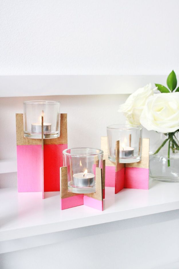 DIY Candle Holders - Paint Dipped Balsa Wood Candle Holder - Easy Ideas for Home Decor With Candles, Tall Candlesticks and Votives - Fun Wooden, Rustic, Glass, Mason Jar, Boho and Projects With Items From Dollar Stores - Christmas, Holiday and Wedding Centerpieces - Cool Crafts and Homemade Cheap Gifts http://diyjoy.com/diy-candle-holders