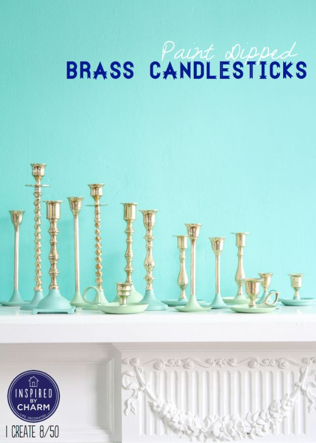 DIY Candle Holders - Paint Dipped Brass Candlesticks - Easy Ideas for Home Decor With Candles, Tall Candlesticks and Votives - Fun Wooden, Rustic, Glass, Mason Jar, Boho and Projects With Items From Dollar Stores - Christmas, Holiday and Wedding Centerpieces - Cool Crafts and Homemade Cheap Gifts http://diyjoy.com/diy-candle-holders