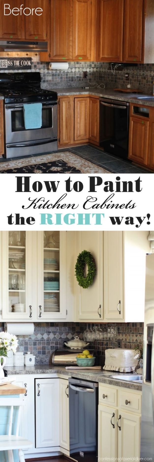 DIY Kitchen Cabinet Ideas - Paint Your Kitchen Cabinets - Makeover and Before and After - How To Build, Plan and Renovate Your Kitchen Cabinets - Painted, Cheap Refact, Free Plans, Rustic Decor, Farmhouse and Vintage Looks, Modern Design and Inexpensive Budget Friendly Projects