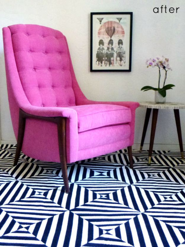DIY Rugs - Painted Patterned Rug - Ideas for An Easy Handmade Rug for Living Room, Bedroom, Kitchen Mat and Cheap Area Rugs You Can Make - Stencil Art Tutorial, Painting Tips, Fabric, Yarn, Old Denim Jeans, Rope, Tshirt, Pom Pom, Fur, Crochet, Woven and Outdoor Projects - Large and Small Carpet http://diyjoy.com/diy-rug-tutorials