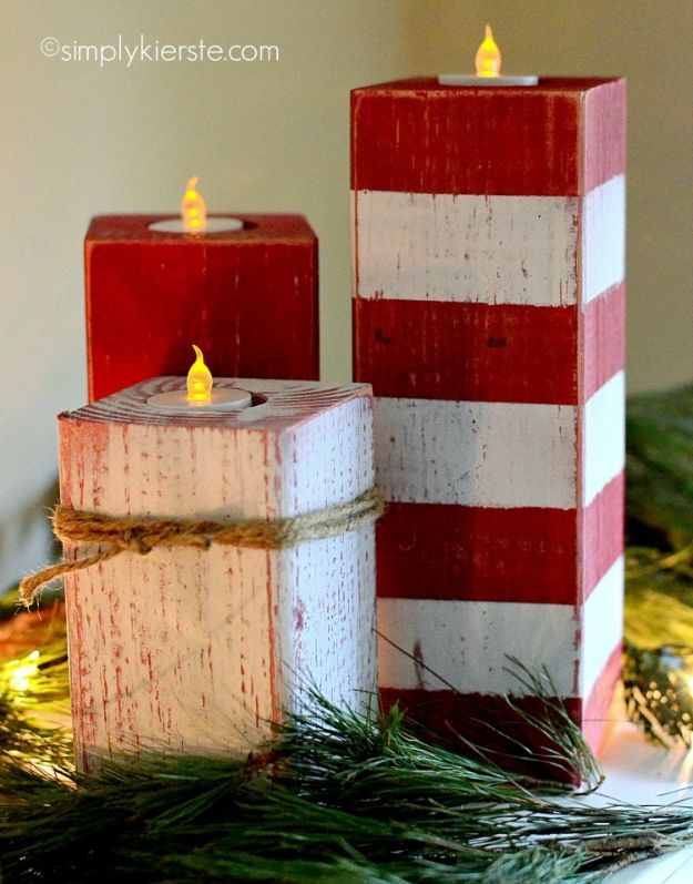 DIY Candle Holders - Peppermint Striped Candlesticks - Easy Ideas for Home Decor With Candles, Tall Candlesticks and Votives - Fun Wooden, Rustic, Glass, Mason Jar, Boho and Projects With Items From Dollar Stores - Christmas, Holiday and Wedding Centerpieces - Cool Crafts and Homemade Cheap Gifts http://diyjoy.com/diy-candle-holders