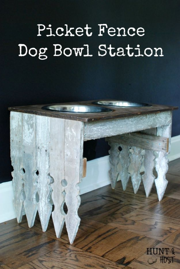 DIY Pet Bowls And Feeding Stations - Picket Fence Dog Bowl Station - Easy Ideas for Serving Dog and Cat Food, Ways to Raise and Store Bowls - Organize Your Dog Food and Water Bowl With These Cute and Creative Ideas for Dogs and Cats- Monogram, Painted, Personalized and Rustic Crafts and Projects http://diyjoy.com/diy-pet-bowls-feeding-station