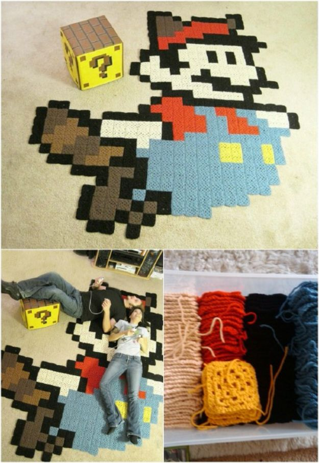 DIY Rugs - Pixel Rug - Ideas for An Easy Handmade Rug for Living Room, Bedroom, Kitchen Mat and Cheap Area Rugs You Can Make - Stencil Art Tutorial, Painting Tips, Fabric, Yarn, Old Denim Jeans, Rope, Tshirt, Pom Pom, Fur, Crochet, Woven and Outdoor Projects - Large and Small Carpet http://diyjoy.com/diy-rug-tutorials