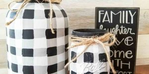 She Put A New Spin On Mason Jars By Painting Buffalo Checks On Them. Watch!