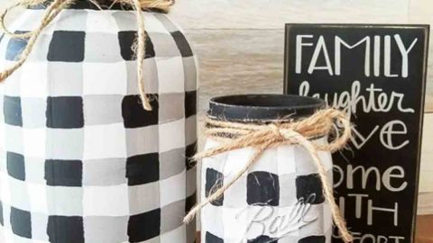 She Put A New Spin On Mason Jars By Painting Buffalo Checks On Them. Watch! | DIY Joy Projects and Crafts Ideas