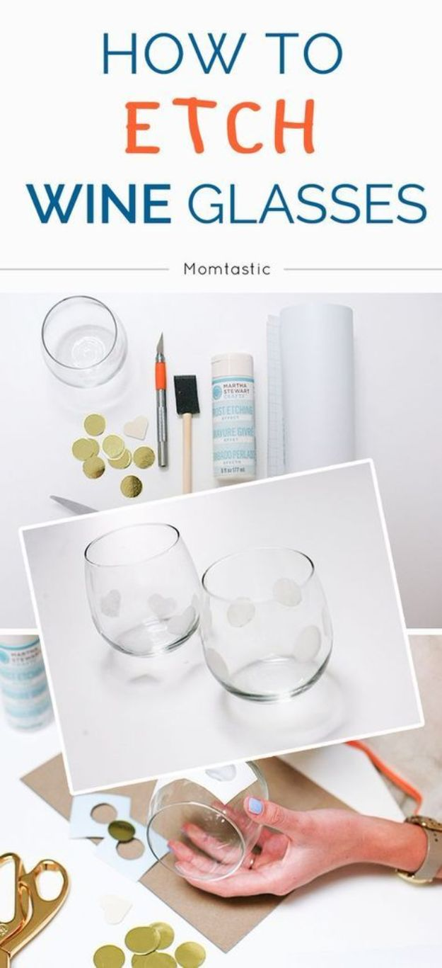 DIY Glassware - Polka Dot Etched Wine Glass - Cool Bar and Drink Glasses You Can Make and Decorate for Creative and Unique Serving Glass Ideas - Mugs, Cups, Decanters, Pitchers and Glass Ware Projects - Paint, Etch, Etching Tutorials, Dotted, Sharpie Art and Dishwasher Safe Decorating Tips - Easy DIY Gift Ideas for Him and Her - Handmade Home Decor DIY