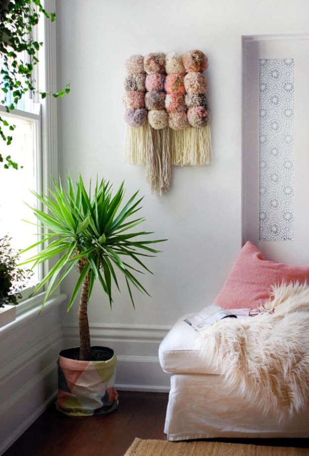 DIY Wall Hangings - Pom Pom Wall Hanging - Easy Yarn Projects , Macrame Ideas , Fabric Tapestry and Paper Arts and Crafts , Planter and Wood Board Ideas for Bedroom and Living Room Decor - Cute Mobile and Wall Hanging for Nursery and Kids Rooms http://diyjoy.com/diy-wall-hangings