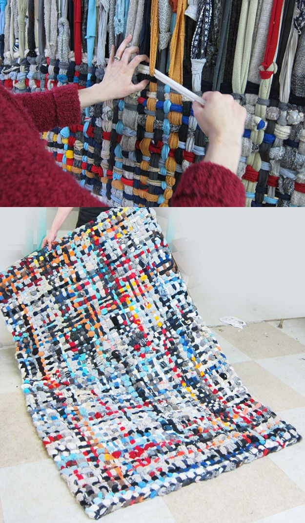 DIY Rugs - Pot Holder Area Rugs - Ideas for An Easy Handmade Rug for Living Room, Bedroom, Kitchen Mat and Cheap Area Rugs You Can Make - Stencil Art Tutorial, Painting Tips, Fabric, Yarn, Old Denim Jeans, Rope, Tshirt, Pom Pom, Fur, Crochet, Woven and Outdoor Projects - Large and Small Carpet #diyrugs #diyhomedecor