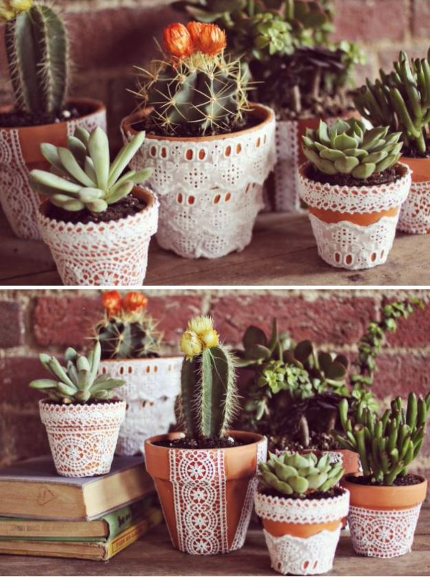 DIY Shabby Chic Decor Ideas - Pretty Lace Flower Pots - French Farmhouse and Vintage White Linens - Bedroom, Living Room, Bathroom Ideas, Distressed Furniture and Boho Crafts - Cheap Dollar Store Projects and Upcycle Repurposed Home Decor #diyideas #shabbychic #diyhomedecor