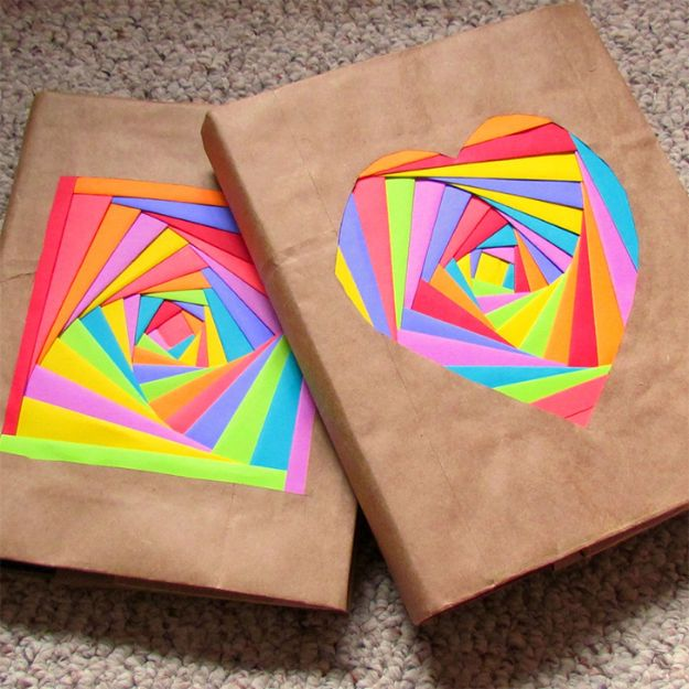 DIY Journals - Rainbow Journal Cover - Ideas For Making A Handmade Journal - Cover Art Tutorial, Binding Tips, Easy Craft Ideas for Kids and For Teens - Step By Step Instructions for Making From Scratch, From An Old Book - Leather, Faux Marble, Paper, Monogram, Cute Do It Yourself Gift Idea