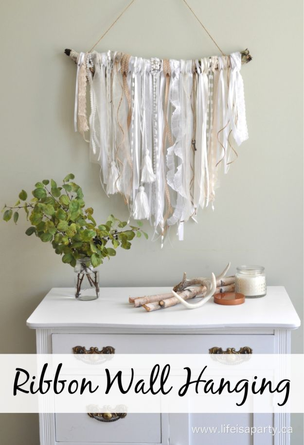 DIY Wall Hangings - Ribbon Wall Hanging - Easy Yarn Projects , Macrame Ideas , Fabric Tapestry and Paper Arts and Crafts , Planter and Wood Board Ideas for Bedroom and Living Room Decor - Cute Mobile and Wall Hanging for Nursery and Kids Rooms http://diyjoy.com/diy-wall-hangings
