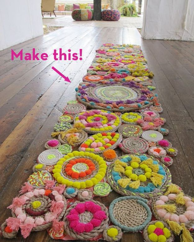 DIY Rugs - Rope Swirl Rug - Ideas for An Easy Handmade Rug for Living Room, Bedroom, Kitchen Mat and Cheap Area Rugs You Can Make - Stencil Art Tutorial, Painting Tips, Fabric, Yarn, Old Denim Jeans, Rope, Tshirt, Pom Pom, Fur, Crochet, Woven and Outdoor Projects - Large and Small Carpet #diyrugs #diyhomedecor