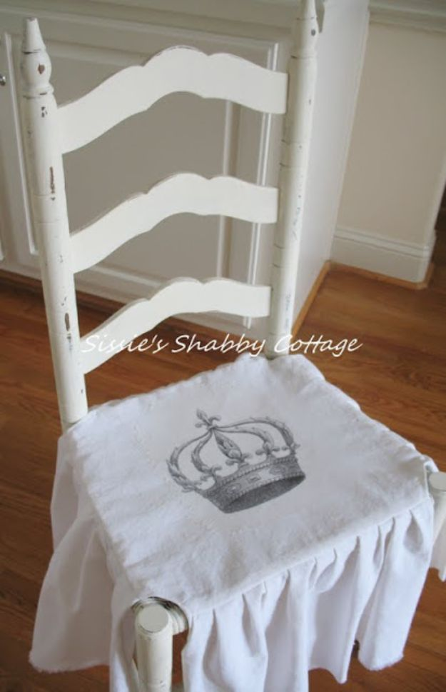 DIY Shabby Chic Decor Ideas - Shabby Chic Chair Cover - French Farmhouse and Vintage White Linens - Bedroom, Living Room, Bathroom Ideas, Distressed Furniture and Boho Crafts - Cheap Dollar Store Projects and Upcycle Repurposed Home Decor http://diyjoy.com/shabby-chic-diy