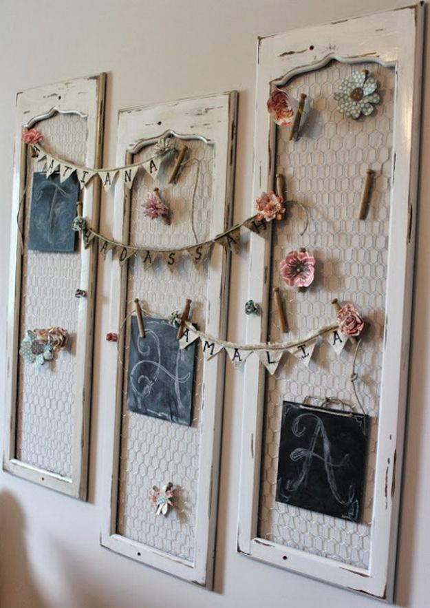DIY Shabby Chic Decor Ideas - Shabby Chic Old Shutter Wall Decor - French Farmhouse and Vintage White Linens - Bedroom, Living Room, Bathroom Ideas, Distressed Furniture and Boho Crafts - Cheap Dollar Store Projects and Upcycle Repurposed Home Decor #diyideas #shabbychic #diyhomedecor