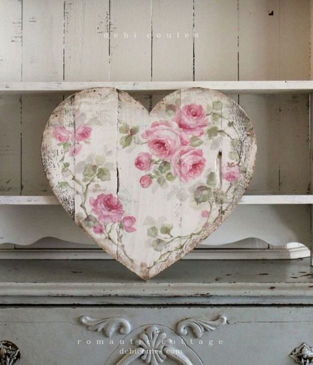 DIY Shabby Chic Decor Ideas - Shabby Chic Romantic Large Vintage Style French Roses Heart - French Farmhouse and Vintage White Linens - Bedroom, Living Room, Bathroom Ideas, Distressed Furniture and Boho Crafts - Cheap Dollar Store Projects and Upcycle Repurposed Home Decor #diyideas #shabbychic #diyhomedecor