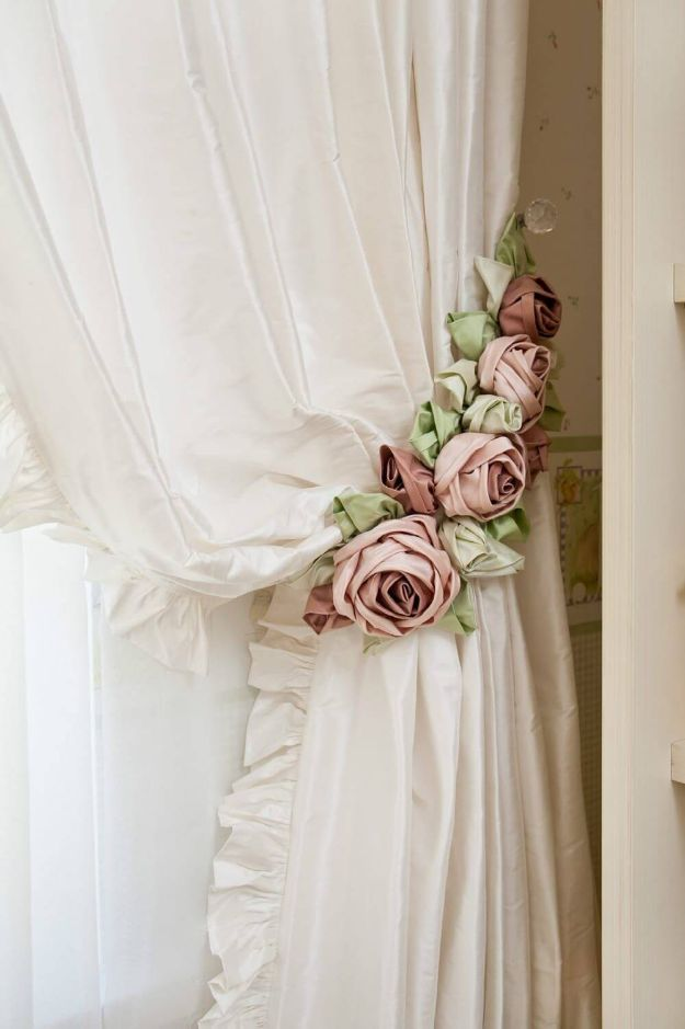 DIY Shabby Chic Decor Ideas - Shabby Chic Rose Curtain Tie Backs - French Farmhouse and Vintage White Linens - Bedroom, Living Room, Bathroom Ideas, Distressed Furniture and Boho Crafts - Cheap Dollar Store Projects and Upcycle Repurposed Home Decor #diyideas #shabbychic #diyhomedecor