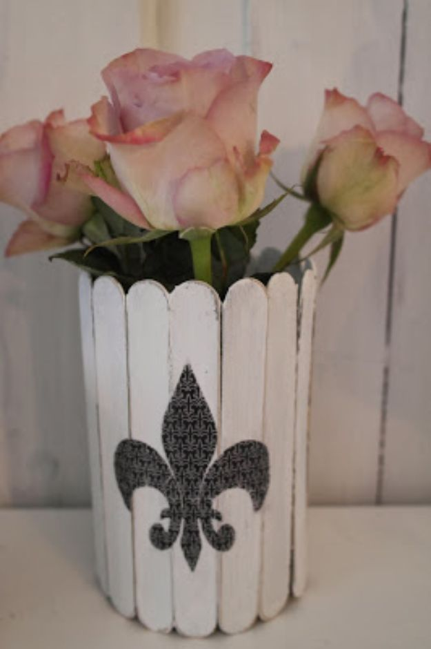 DIY Shabby Chic Decor Ideas - Shabby Chic Vase - French Farmhouse and Vintage White Linens - Bedroom, Living Room, Bathroom Ideas, Distressed Furniture and Boho Crafts - Cheap Dollar Store Projects and Upcycle Repurposed Home Decor #diyideas #shabbychic #diyhomedecor