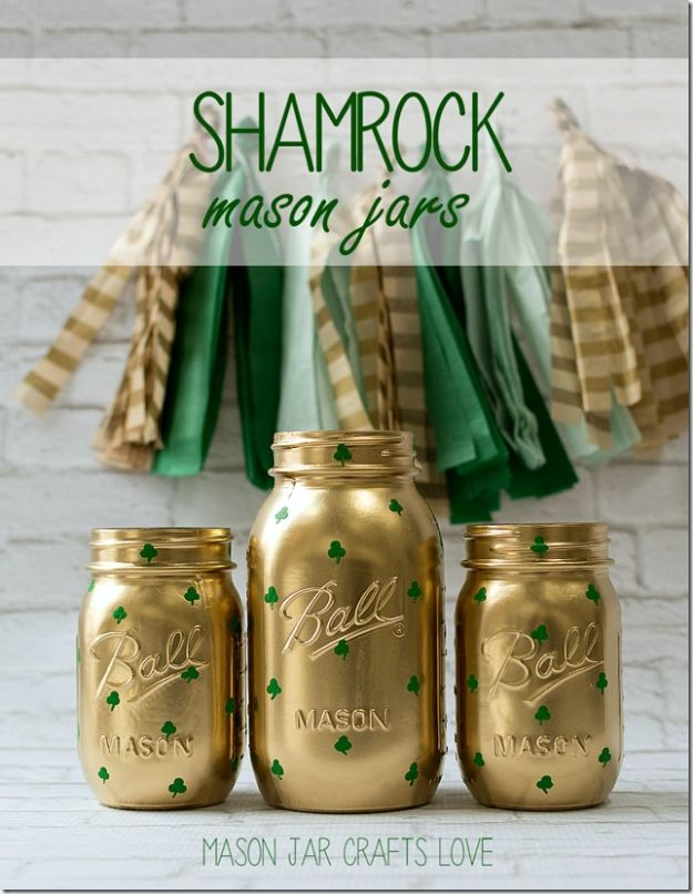 St Patricks Day Decor Ideas - Shamrock Mason Jars - DIY St. Patrick's Day Party Decorations and Home Decor Crafts - Projects for Walls, Hanging Banners, Wreaths, Tabletop Centerpieces and Party Favors - Green Shamrocks, Leprechauns and Cute and Easy Do It Yourself Decor For Parties - Cheap Dollar Store Ideas for Those On A Budget http://diyjoy.com/diy-st-patricks-day-decor