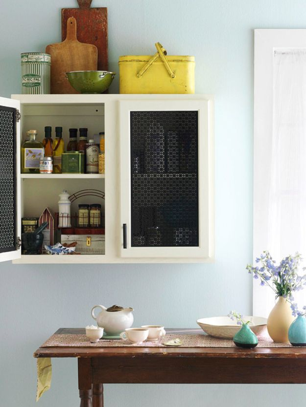 DIY Kitchen Cabinet Ideas - Sheet Metal Shimmer - Makeover and Before and After - How To Build, Plan and Renovate Your Kitchen Cabinets - Painted, Cheap Refact, Free Plans, Rustic Decor, Farmhouse and Vintage Looks, Modern Design and Inexpensive Budget Friendly Projects http://diyjoy.com/diy-kitchen-cabinets