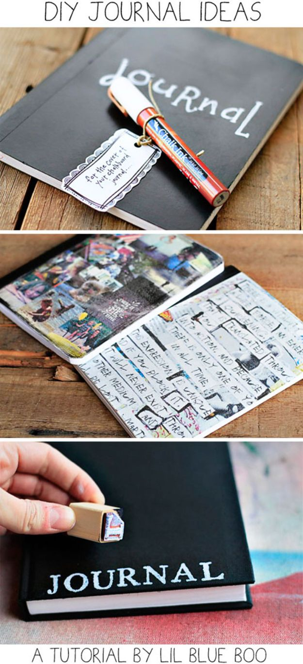 DIY Journals - Simple Stamped Journal - Ideas For Making A Handmade Journal - Cover Art Tutorial, Binding Tips, Easy Craft Ideas for Kids and For Teens - Step By Step Instructions for Making From Scratch, From An Old Book - Leather, Faux Marble, Paper, Monogram, Cute Do It Yourself Gift Idea