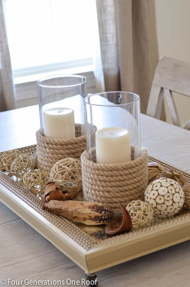 DIY Candle Holders - Sisal And Rope Candle Holder - Easy Ideas for Home Decor With Candles, Tall Candlesticks and Votives - Fun Wooden, Rustic, Glass, Mason Jar, Boho and Projects With Items From Dollar Stores - Christmas, Holiday and Wedding Centerpieces - Cool Crafts and Homemade Cheap Gifts http://diyjoy.com/diy-candle-holders