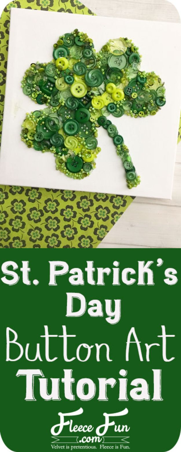 St Patricks Day Decor Ideas - St. Patrick's Day Clover Button Art - DIY St. Patrick's Day Party Decorations and Home Decor Crafts - Projects for Walls, Hanging Banners, Wreaths, Tabletop Centerpieces and Party Favors - Green Shamrocks, Leprechauns and Cute and Easy Do It Yourself Decor For Parties - Cheap Dollar Store Ideas for Those On A Budget http://diyjoy.com/diy-st-patricks-day-decor