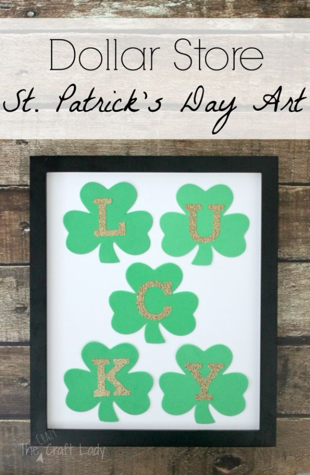 St Patricks Day Decor Ideas - St. Patrick's Day Framed Wall Art - DIY St. Patrick's Day Party Decorations and Home Decor Crafts - Projects for Walls, Hanging Banners, Wreaths, Tabletop Centerpieces and Party Favors - Green Shamrocks, Leprechauns and Cute and Easy Do It Yourself Decor For Parties - Cheap Dollar Store Ideas for Those On A Budget http://diyjoy.com/diy-st-patricks-day-decor