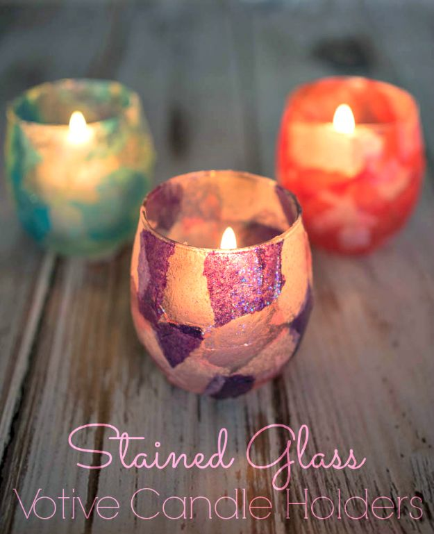 DIY Candle Holders - Stained Glass Votive Holder - Easy Ideas for Home Decor With Candles, Tall Candlesticks and Votives - Fun Wooden, Rustic, Glass, Mason Jar, Boho and Projects With Items From Dollar Stores - Christmas, Holiday and Wedding Centerpieces - Cool Crafts and Homemade Cheap Gifts http://diyjoy.com/diy-candle-holders