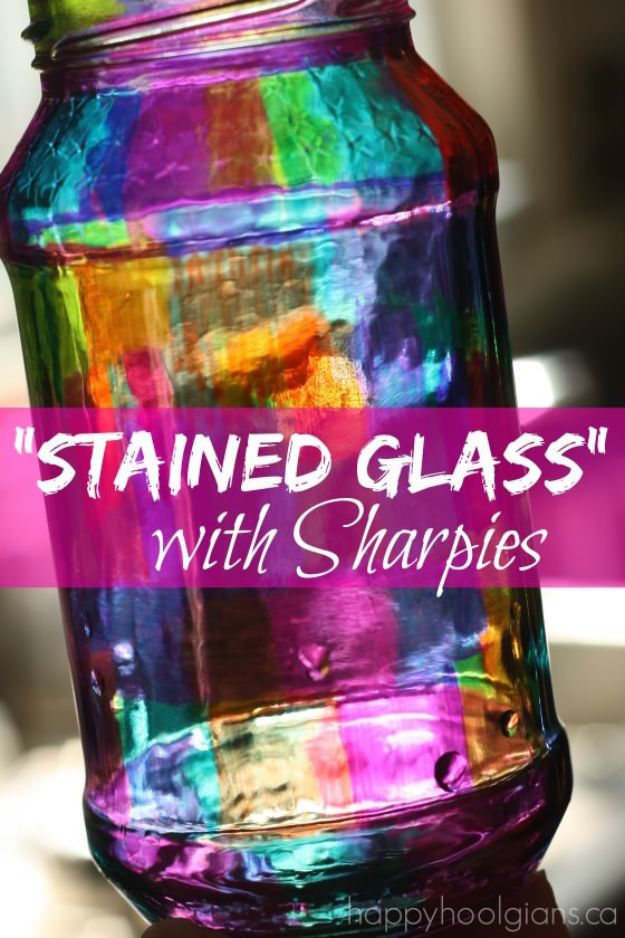 DIY Glassware - Stained Glass With Sharpies - Cool Bar and Drink Glasses You Can Make and Decorate for Creative and Unique Serving Glass Ideas - Mugs, Cups, Decanters, Pitchers and Glass Ware Projects - Paint, Etch, Etching Tutorials, Dotted, Sharpie Art and Dishwasher Safe Decorating Tips - Easy DIY Gift Ideas for Him and Her - Handmade Home Decor DIY