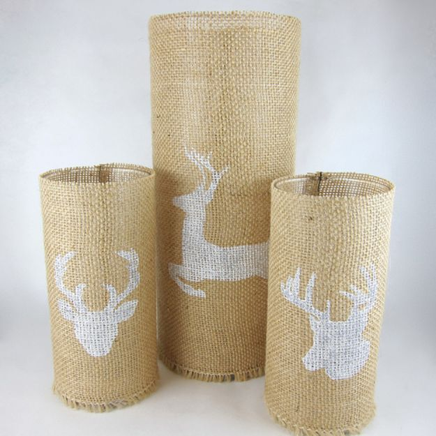 DIY Candle Holders - Stenciled Burlap Candleholders - Easy Ideas for Home Decor With Candles, Tall Candlesticks and Votives - Fun Wooden, Rustic, Glass, Mason Jar, Boho and Projects With Items From Dollar Stores - Christmas, Holiday and Wedding Centerpieces - Cool Crafts and Homemade Cheap Gifts http://diyjoy.com/diy-candle-holders