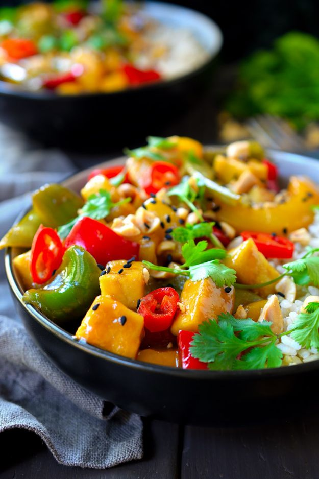 Best Lowfat Recipes - Sweet and Sour Tofu - Easy Low fat and Healthy Recipe Ideas For Eating Well and Dieting, Weight Loss - Quick Breakfasts, Lunch, Dinner, Snack and Desserts - Foods with Chicken, Vegetables, Salad, Low Carb, Beef, Egg, Gluten Free http://diyjoy.com/best-lowfat-recipes
