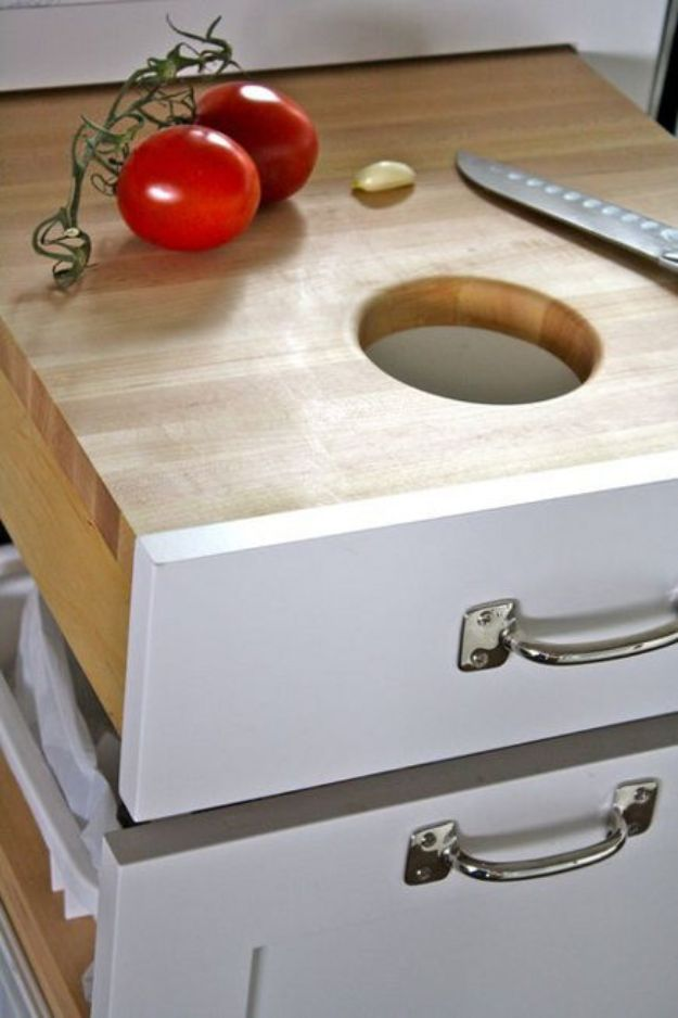 DIY Kitchen Cabinet Ideas - Tandem Cutting Board-Garbage Pull Out - Makeover and Before and After - How To Build, Plan and Renovate Your Kitchen Cabinets - Painted, Cheap Refact, Free Plans, Rustic Decor, Farmhouse and Vintage Looks, Modern Design and Inexpensive Budget Friendly Projects
