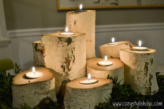 DIY Candle Holders - Tree Stump Candle Holders - Easy Ideas for Home Decor With Candles, Tall Candlesticks and Votives - Fun Wooden, Rustic, Glass, Mason Jar, Boho and Projects With Items From Dollar Stores - Christmas, Holiday and Wedding Centerpieces - Cool Crafts and Homemade Cheap Gifts http://diyjoy.com/diy-candle-holders