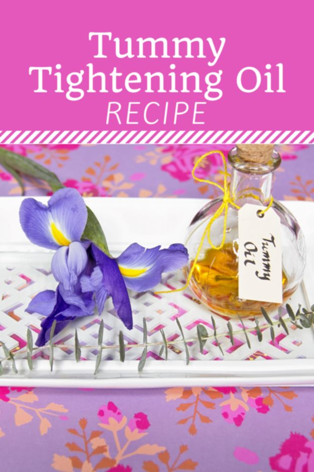 DIY Essential Oil Recipes and Ideas - Tummy Tightening Oil - Cool Recipes, Crafts and Home Decor to Make With Essential Oil - Diffuser Projects, Roll On Prodicts for Skin - Recipe Tutorials for Cleaning, Colds, For Sleep, For Hair, For Paint, For Weight Loss http://diyjoy.com/diy-ideas-essential-oils