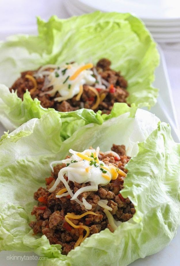 Best Lowfat Recipes - Turkey Taco Lettuce Wraps - Easy Low fat and Healthy Recipe Ideas For Eating Well and Dieting, Weight Loss - Quick Breakfasts, Lunch, Dinner, Snack and Desserts - Foods with Chicken, Vegetables, Salad, Low Carb, Beef, Egg, Gluten Free http://diyjoy.com/best-lowfat-recipes
