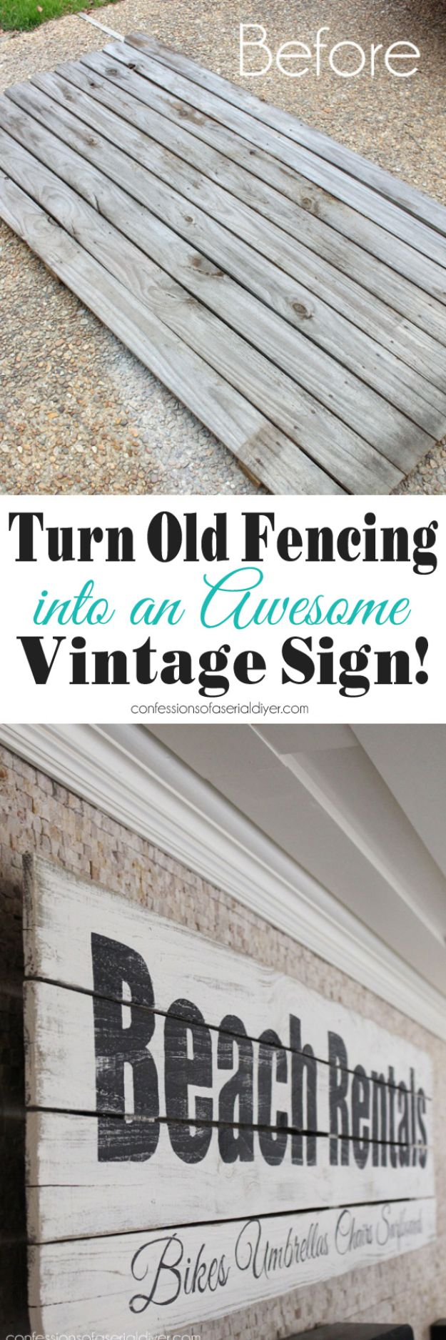 DIY Vintage Signs - Turn An Old Fence into A Vintage Sign - Rustic, Vintage Sign Projects to Make At Home - Creative Home Decor on a Budget and Cheap Crafts for Living Room, Bedroom and Kitchen - Paint Letters, Transfer to Wood, Aged Finishes and Fun Word Stencils and Easy Ideas for Farmhouse Wall Art http://diyjoy.com/diy-vintage-signs