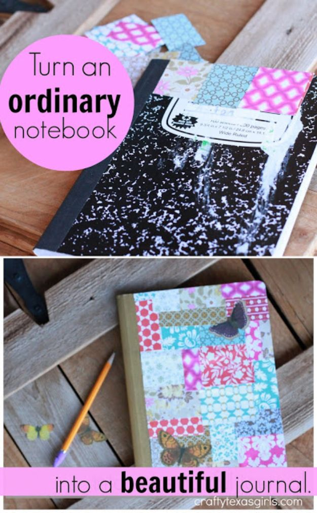 DIY Journals - Turn An Ordinary Notebook Into A Beautiful Journal - Ideas For Making A Handmade Journal - Cover Art Tutorial, Binding Tips, Easy Craft Ideas for Kids and For Teens - Step By Step Instructions for Making From Scratch, From An Old Book - Leather, Faux Marble, Paper, Monogram, Cute Do It Yourself Gift Idea