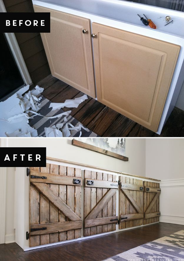 DIY Kitchen Cabinet Ideas - Upcycled Barnwood Style Cabinet - Makeover and Before and After - How To Build, Plan and Renovate Your Kitchen Cabinets - Painted, Cheap Refact, Free Plans, Rustic Decor, Farmhouse and Vintage Looks, Modern Design and Inexpensive Budget Friendly Projects