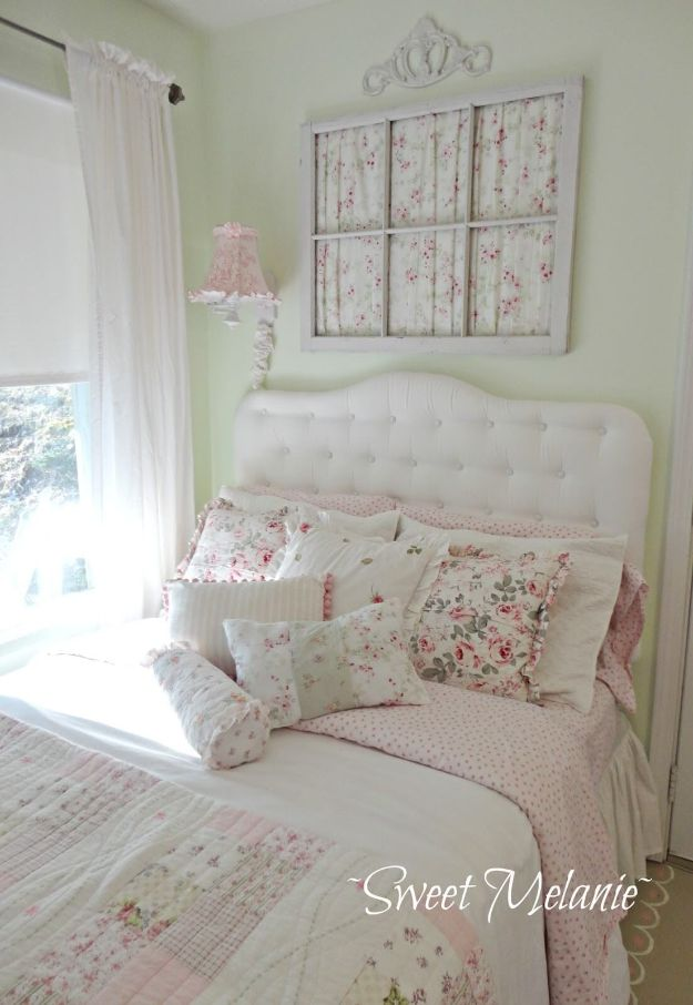 DIY Shabby Chic Decor Ideas - Upcycled Window with Curtains Wall Art - French Farmhouse and Vintage White Linens - Bedroom, Living Room, Bathroom Ideas, Distressed Furniture and Boho Crafts - Cheap Dollar Store Projects and Upcycle Repurposed Home Decor http://diyjoy.com/shabby-chic-diy