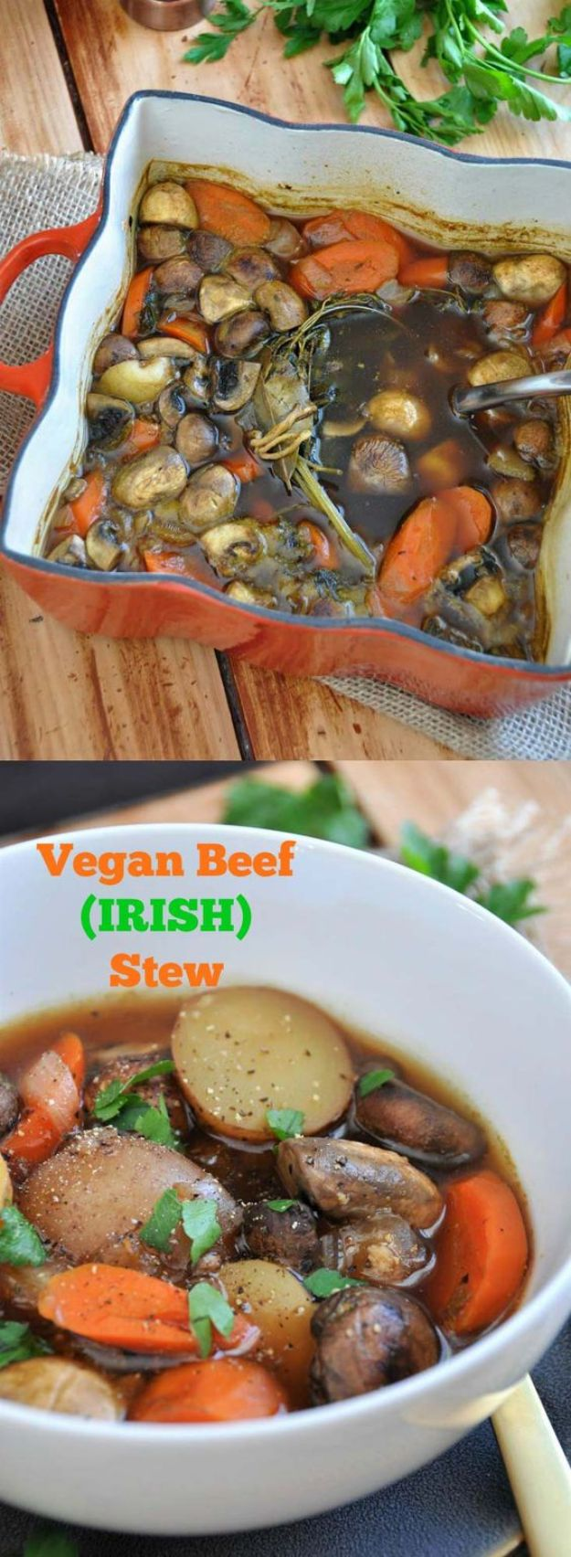 St Patrick's Day Food and Recipe Ideas - Vegan Beef Irish Stew - DIY St. Patrick's Day Party Recipes for Dinner, Desserts, Cookies, Cakes, Snacks, Dips and Drinks - Green Shamrocks, Leprechauns and Cute Party Foods - Easy Appetizers and Healthy Treats for Adults and Kids To Make - Potluck, Crockpot, Traditional and Corned Beef http://diyjoy.com/st-patricks-day-recipes