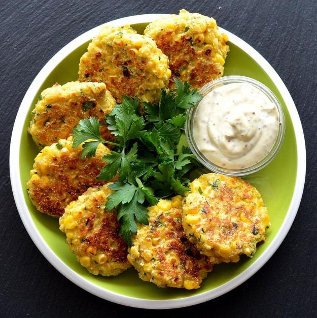 Best Lowfat Recipes - Vegan Corn Fritters - Easy Low fat and Healthy Recipe Ideas For Eating Well and Dieting, Weight Loss - Quick Breakfasts, Lunch, Dinner, Snack and Desserts - Foods with Chicken, Vegetables, Salad, Low Carb, Beef, Egg, Gluten Free http://diyjoy.com/best-lowfat-recipes