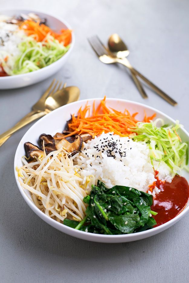 Best Lowfat Recipes - Vegan Korean Bibimbap - Easy Low fat and Healthy Recipe Ideas For Eating Well and Dieting, Weight Loss - Quick Breakfasts, Lunch, Dinner, Snack and Desserts - Foods with Chicken, Vegetables, Salad, Low Carb, Beef, Egg, Gluten Free http://diyjoy.com/best-lowfat-recipes