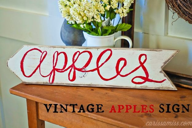DIY Vintage Signs - Vintage Apple Sign - Rustic, Vintage Sign Projects to Make At Home - Creative Home Decor on a Budget and Cheap Crafts for Living Room, Bedroom and Kitchen - Paint Letters, Transfer to Wood, Aged Finishes and Fun Word Stencils and Easy Ideas for Farmhouse Wall Art http://diyjoy.com/diy-vintage-signs