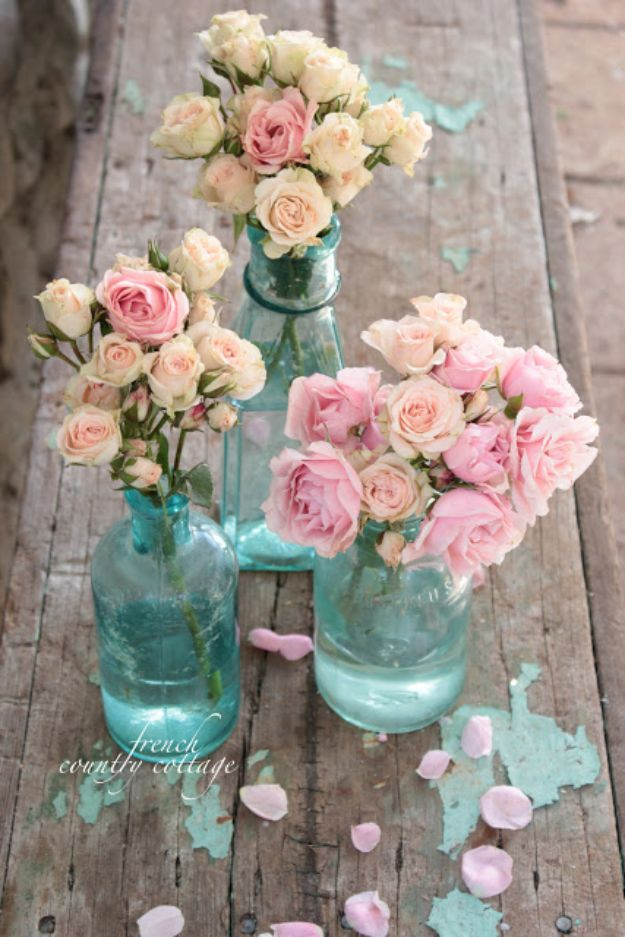 DIY Shabby Chic Decor Ideas - Vintage Blue Bottles - French Farmhouse and Vintage White Linens - Bedroom, Living Room, Bathroom Ideas, Distressed Furniture and Boho Crafts - Cheap Dollar Store Projects and Upcycle Repurposed Home Decor #diyideas #shabbychic #diyhomedecor