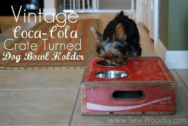 DIY Pet Bowls And Feeding Stations - Vintage Coca Cola Crate Turned Dog Bowl Holder - Easy Ideas for Serving Dog and Cat Food, Ways to Raise and Store Bowls - Organize Your Dog Food and Water Bowl With These Cute and Creative Ideas for Dogs and Cats- Monogram, Painted, Personalized and Rustic Crafts and Projects http://diyjoy.com/diy-pet-bowls-feeding-station