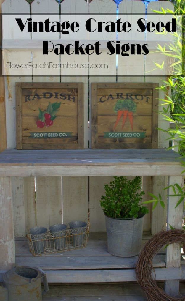 DIY Vintage Signs - Vintage Crate Seed Packet Signs - Rustic, Vintage Sign Projects to Make At Home - Creative Home Decor on a Budget and Cheap Crafts for Living Room, Bedroom and Kitchen - Paint Letters, Transfer to Wood, Aged Finishes and Fun Word Stencils and Easy Ideas for Farmhouse Wall Art http://diyjoy.com/diy-vintage-signs