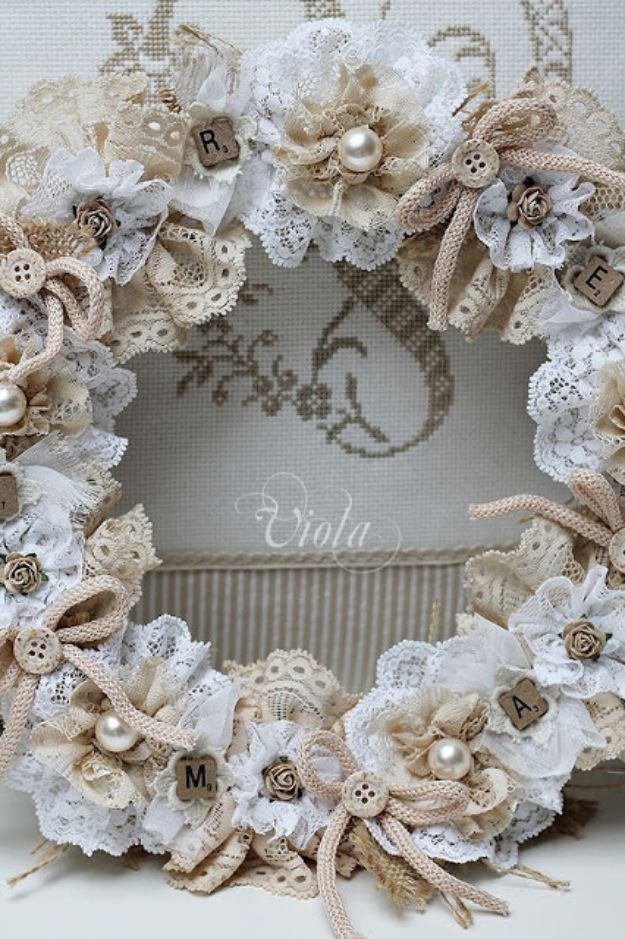DIY Shabby Chic Decor Ideas - Vintage Inspired Lace Wreath - French Farmhouse and Vintage White Linens - Bedroom, Living Room, Bathroom Ideas, Distressed Furniture and Boho Crafts - Cheap Dollar Store Projects and Upcycle Repurposed Home Decor #diyideas #shabbychic #diyhomedecor