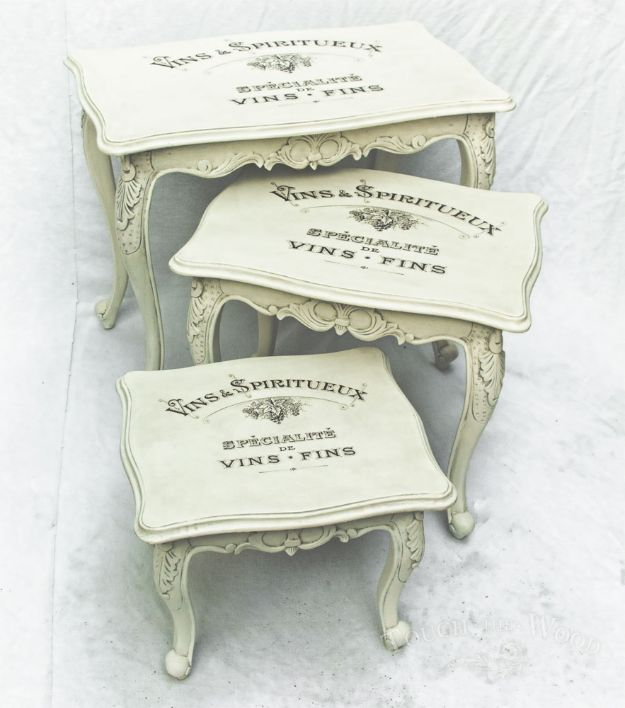DIY Shabby Chic Decor Ideas - Vintage Shabby Chic Nest of Tables - French Farmhouse and Vintage White Linens - Bedroom, Living Room, Bathroom Ideas, Distressed Furniture and Boho Crafts - Cheap Dollar Store Projects and Upcycle Repurposed Home Decor #diyideas #shabbychic #diyhomedecor